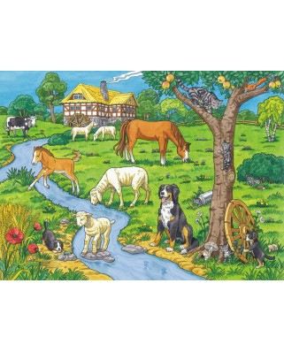 Puzzle de colorat Ravensburger - Dearest Farm Animals, 100 piese XXL (13696)