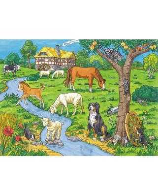Puzzle de colorat Ravensburger - Dearest Farm Animals, 100 piese XXL (13696)