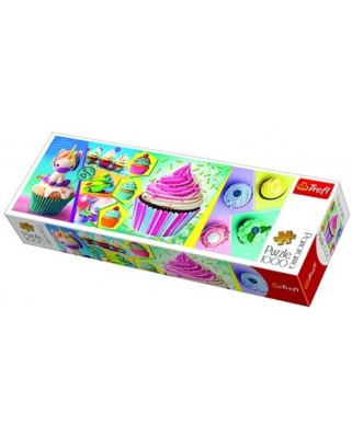Puzzle panoramic Trefl - Colorful Cupcakes, 1000 piese (29045)