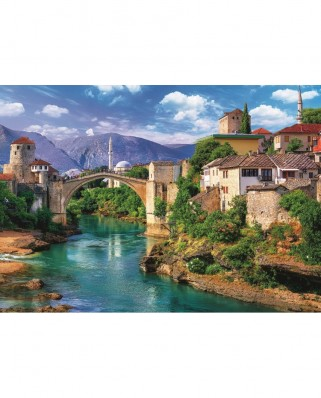 Puzzle Trefl - Old Bridge in Mostar, Bosnia and Herzegovina, 500 piese (37333)