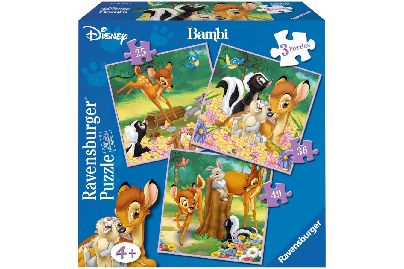 Puzzle Ravensburger - Bambi, 25/36/49 piese (07210)