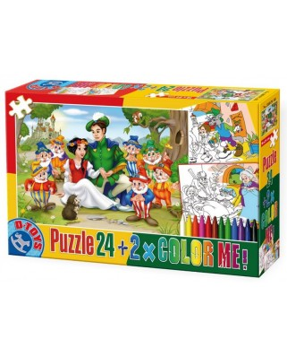 Puzzle de colorat D-Toys - Blanche Neige + 2 drawings to colorize, 24 piese (Dtoys-50380-PC-08)