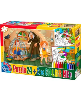 Puzzle de colorat D-Toys - Hansel and Gretel + 2 drawings to colorize, 24 piese (Dtoys-50380-PC-07)