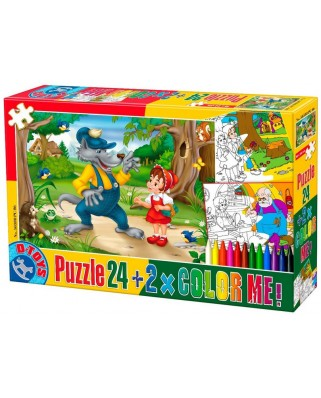 Puzzle de colorat D-Toys - The Little Red Cap + 2 drawings to color, 24 piese (Dtoys-50380-PC-06)