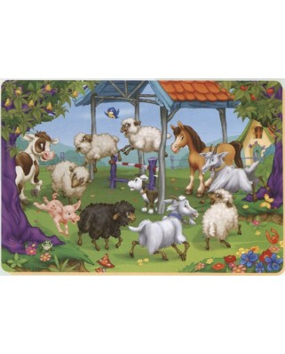 Puzzle de colorat D-Toys - The Round of the Farm Animals, 24 piese (Dtoys-61454-AN-04)