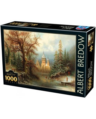 Puzzle D-Toys - Albert Bredow: Romantic Winter Landscape with Ice Skaters, 1.000 piese (Dtoys-75697)