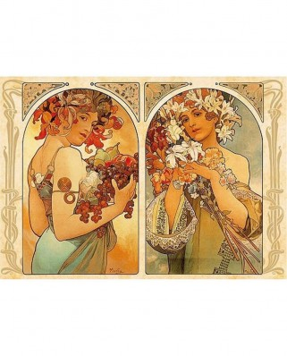 Puzzle D-Toys - Alfons Mucha: Fruit and Flower Dyptich, 1.000 piese (DToys-66930-MU06-(70074))