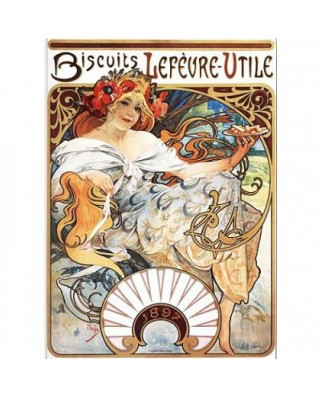 Puzzle D-Toys - Alfons Mucha: Lefevre-Utile Biscuits, 1.000 piese (DToys-66930-MU04-(70098))