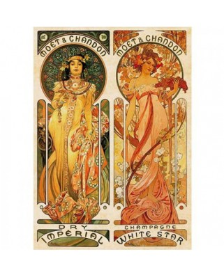 Puzzle D-Toys - Alfons Mucha: Moet and Chandon, Cremant Imperial, 1.000 piese (DToys-66930-MU05-(70081))