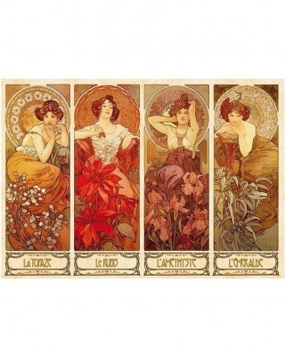 Puzzle D-Toys - Alfons Mucha: Precious Stones, 1.000 piese (DToys-66930-MU07-(70067))