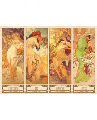 Puzzle D-Toys - Alfons Mucha: Seasons, 1.000 piese (DToys-66930-MU09-(70043))