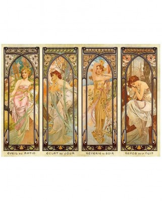 Puzzle D-Toys - Alfons Mucha: Times of Day, 1.000 piese (DToys-66930-MU08-(70050))
