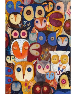 Puzzle D-Toys - Andrea Kurti: Collage - Owls, 1.000 piese (Dtoys-73747-OW02)