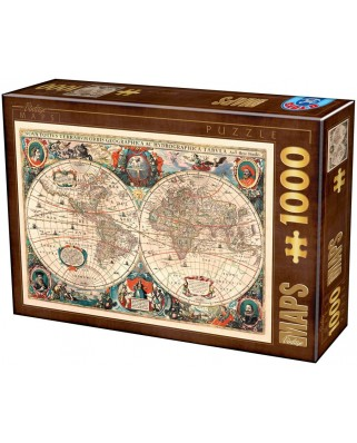 Puzzle D-Toys - Antique World Map, 1.000 piese (Dtoys-75710)