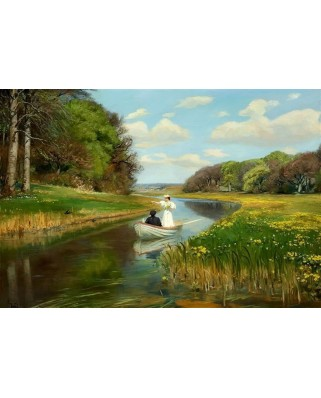 Puzzle D-Toys - Brendekilde Hans Andersen: A You Couple in a Rowing Boat on Odense, 1.000 piese (Dtoys-72795-BR01)