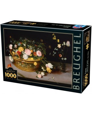 Puzzle D-Toys - Pieter Bruegel: Flowers in a Basket and a Vase, 1.000 piese (Dtoys-75833)
