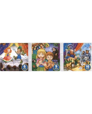 Puzzle D-Toys - Pinocchio, Hansel and Gretel, the Chat Botte, 6/9/16 piese (Dtoys-63717-BA-02)