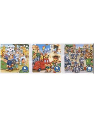 Puzzle D-Toys - Pompieri, politie, ambulanta, 6/9/16 piese (Dtoys-63724-ME-02)