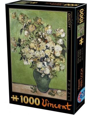 Puzzle D-Toys - Vincent Van Gogh: Vase of White Roses, 1.000 piese (Dtoys-75871)