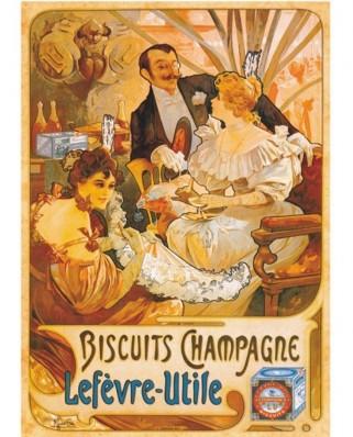 Puzzle D-Toys - Vintage Posters: Lefevre-Utile Champagne Biscuits, 1.000 piese (DToys-67555-VP05)