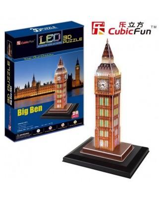 Puzzle 3D cu LED Cubic Fun - Big Ben, 28 piese (Cubic-Fun-L501H)