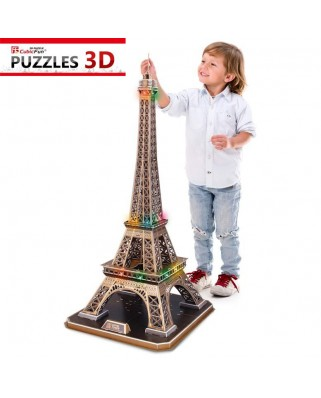 Puzzle 3D cu LED Cubic Fun - Eiffel Tower, Paris, 82 piese (Cubic-Fun-L091H)