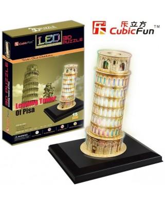 Puzzle 3D cu LED Cubic Fun - Pisa Tower, 15 piese (Cubic-Fun-L502H)