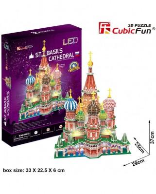 Puzzle 3D cu LED Cubic Fun - St. Basil's Cathedral, 224 piese (Cubic-Fun-L519h)