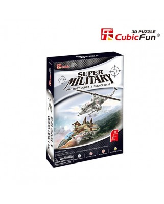 Puzzle 3D Cubic Fun - AH-1 Huey Cobra & Sukhoi SU-35, 102 piese (Cubic-Fun-P628H)