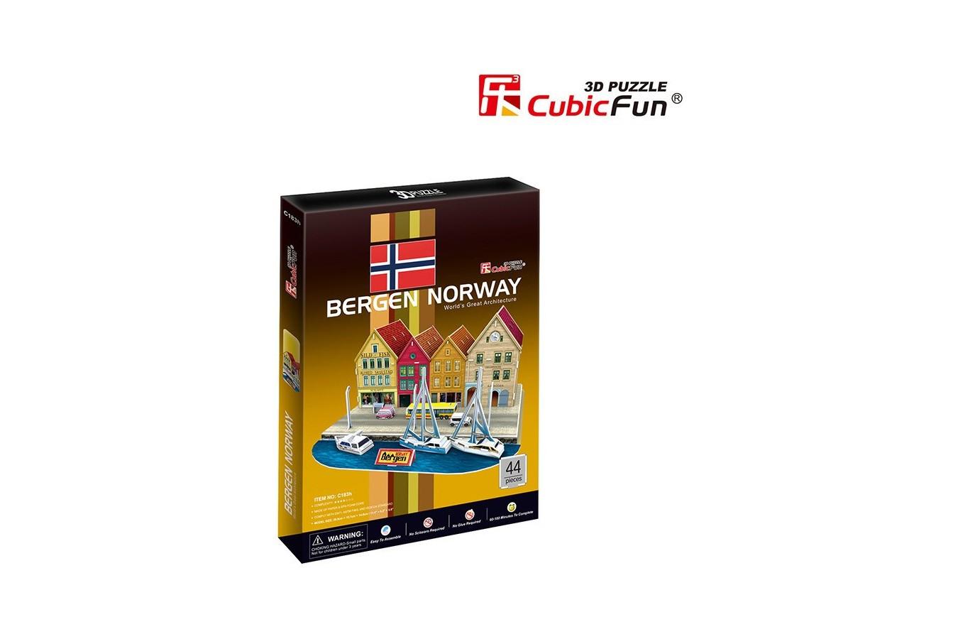 Puzzle 3D Cubic Fun - Bergen Norway, 44 piese (Cubic-Fun-C183H)