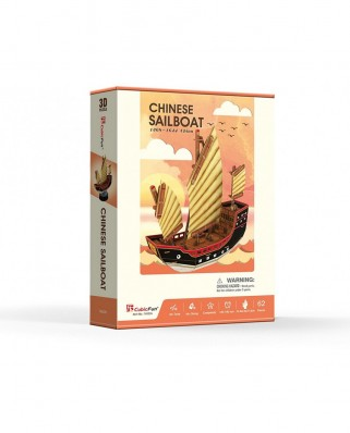 Puzzle 3D Cubic Fun - Chinese Sailboat, 62 piese (Cubic-Fun-T4033h)