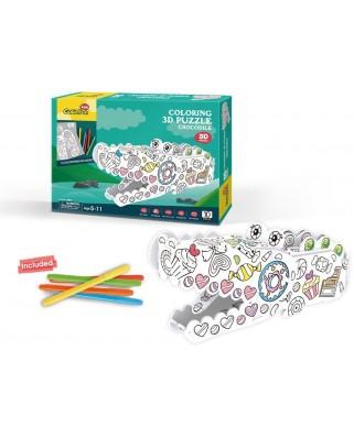 Puzzle 3D Cubic Fun - Coloring Crocodile, 10 piese (Cubic-Fun-P697h)