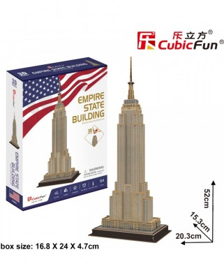 Puzzle 3D Cubic Fun - Empire State Building, 54 piese (Cubic-Fun-C246h)