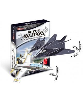 Puzzle 3D Cubic Fun - F-117 Nightawk & F/A-18 Hornet, 13/27 piese (Cubic-Fun-P629H)