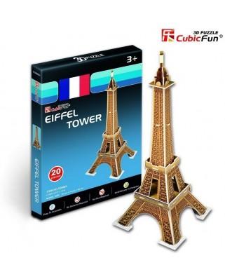 Puzzle 3D Cubic Fun - France, Paris: Eiffel Tower, 20 piese (Cubic-Fun-S3006H)