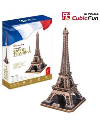 Puzzle 3D Cubic Fun - France, Paris: Eiffel Tower, 82 piese (Cubic-Fun-MC091H)