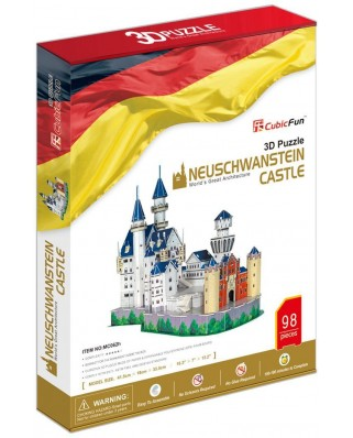 Puzzle 3D Cubic Fun - Germany: Neuschwanstein Castle, 98 piese (Cubic-Fun-MC062H)