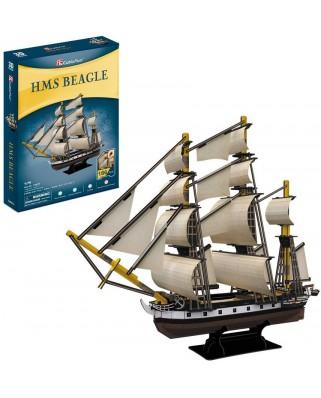 Puzzle 3D Cubic Fun - HMS Beagle, 186 piese (Cubic-Fun-T4027h)