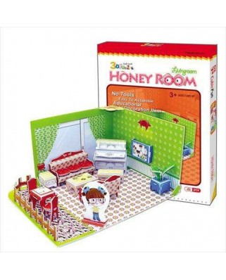 Puzzle 3D Cubic Fun - Honey Room: Living Room, 49 piese (Cubic-Fun-C051-01H)