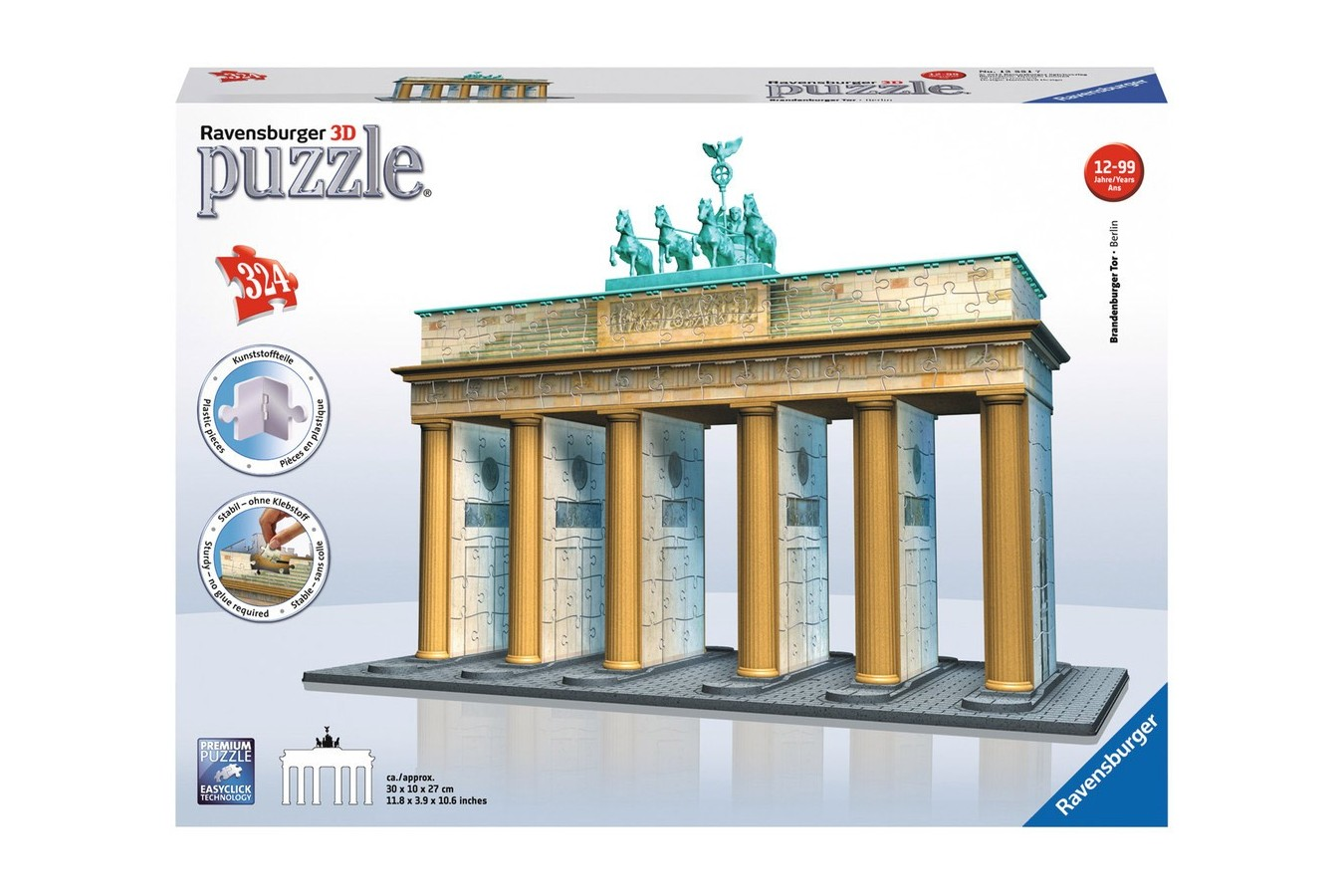 Puzzle 3D Ravensburger - Poarta Brandenburg, 324 piese (12551)