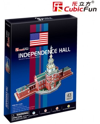 Puzzle 3D Cubic Fun - Independence Hall (USA), 43 piese (Cubic-Fun-C120H)