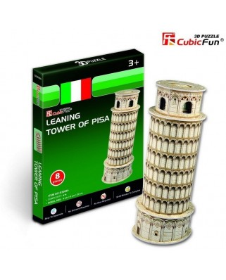 Puzzle 3D Cubic Fun - Italy: Tower of Pisa, 8 piese (Cubic-Fun-S3008H)