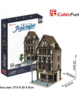 Puzzle 3D Cubic Fun - Jigscape Collection - Tudor Restaurant, 44 piese (Cubic-Fun-HO4104h)