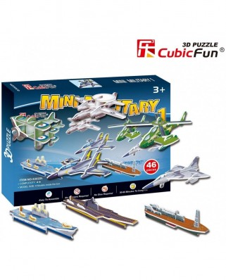 Puzzle 3D Cubic Fun - Military cars, 46 piese (Cubic-Fun-S3022H)