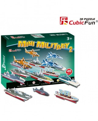 Puzzle 3D Cubic Fun - Military cars, 46 piese (Cubic-Fun-S3023H)