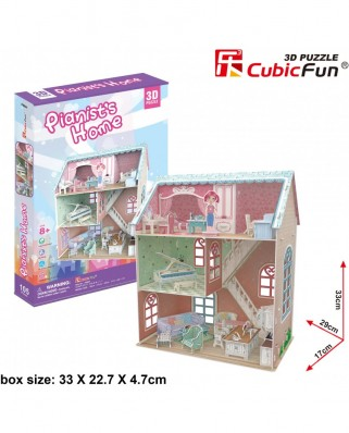 Puzzle 3D Cubic Fun - Pianist's Home, 105 piese (Cubic-Fun-P684h)