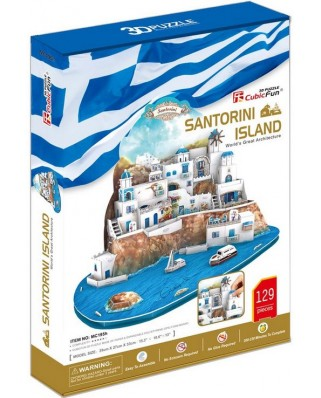 Puzzle 3D Cubic Fun - Santorini, Greece, 129 piese (Cubic-Fun-MC195H)