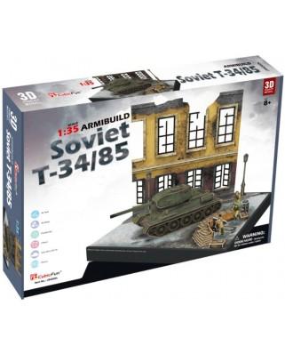 Puzzle 3D Cubic Fun - Soviet T34/85, 213 piese (Cubic-Fun-JS4202h)