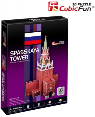 Puzzle 3D Cubic Fun - Spasskaya Tower (Russia), 33 piese (Cubic-Fun-C118H)