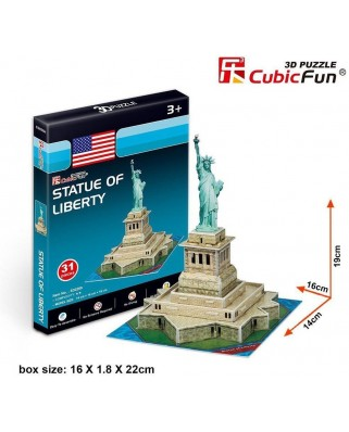 Puzzle 3D Cubic Fun - Statue of Liberty, 38 piese (Cubic-Fun-S3026h)